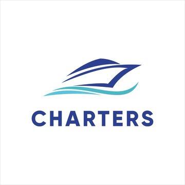 yacht charter boat logo design vector