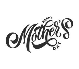 Fototapeta Happy Mother's Day handwritten lettering. Happy Mother's Day typography vector design for greeting cards and poster. Design template celebration. Vector illustration.