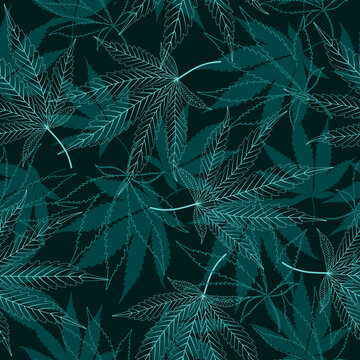 Seamless vector pattern with medical marijuana leaves