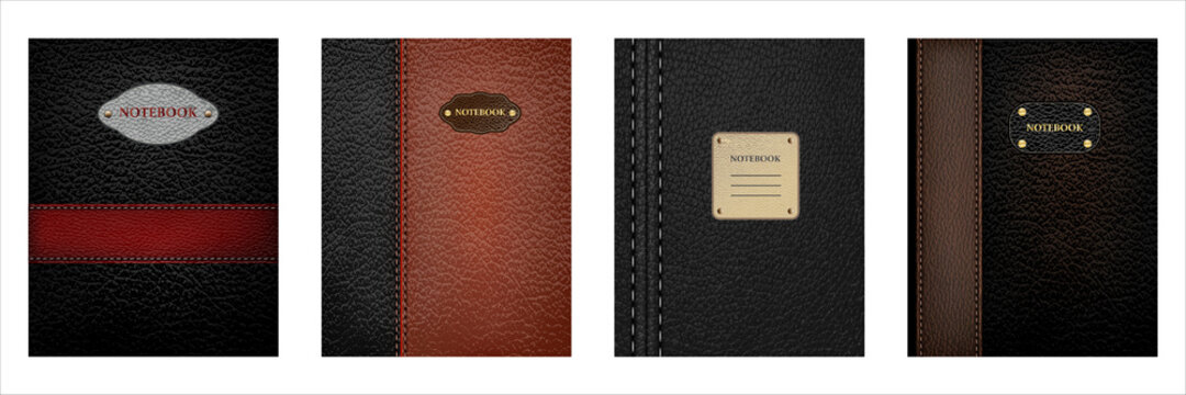 Leather textured notebook cover in set of four colors like black, grey, brown and chocolate