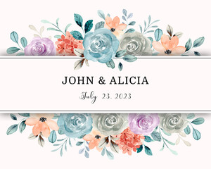Fototapeta Save the date. Watercolor rose flower frame border