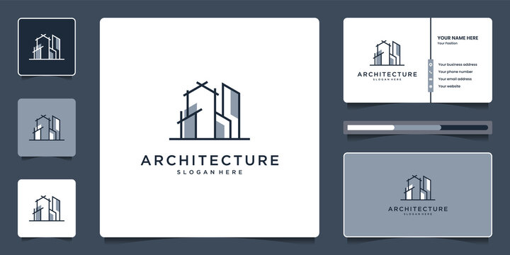 Minimalist elegant Architecture real estate logo and business card template