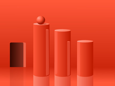 Three glossy cylinders with a little sphere inside a minimalist red room. Vector Illustration