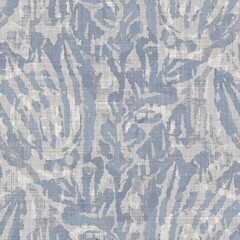 Seamless french farmhouse geo abstract linen printed fabric background. Provence blue gray pattern texture. Shabby chic style woven background. Textile rustic scandi all over print effect. Watercolor.