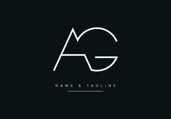 Fototapeta Abstract alphabet letter Logo icon AG or GA