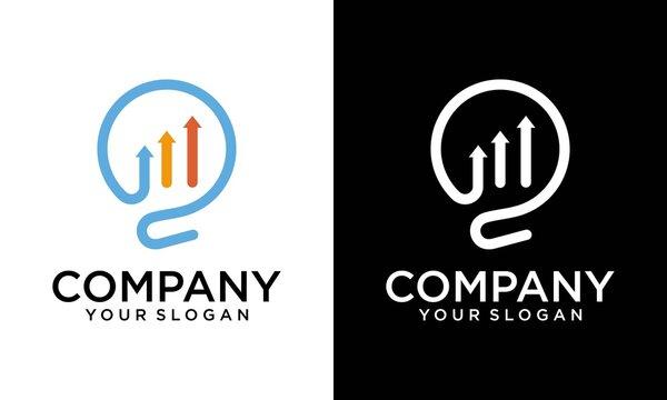 light bulb finance logo , financial logo, Smart Finance Logo. Business and Accounting Logo design vector template