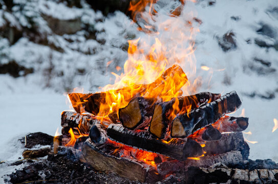 Bonfire Providing Warmth In The Snowy Forest