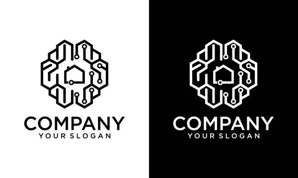 Brain house, Digital smart house - vector logo template concept illustration. Modern technology creative sign. Design element.