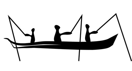 Fototapeta Fishermen in a boat are fishing. Drawings of primitive people on stone. Illustration in ethnic style.