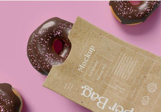 Donut in Paper Bag Mockup