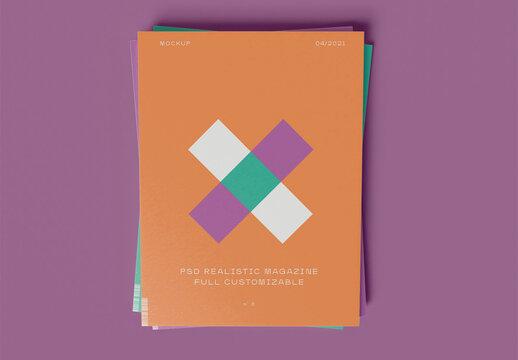 Stacked Magazines Mockup