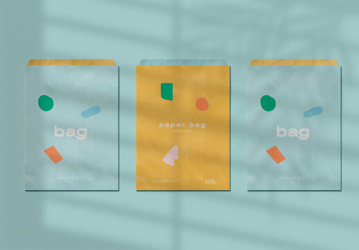 three Paper Bag Mockup