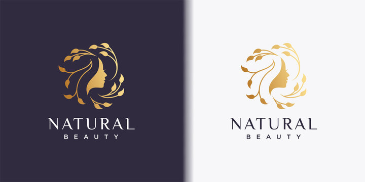 Woman logo with modern beauty style and business card design, natural beauty Premium Vector