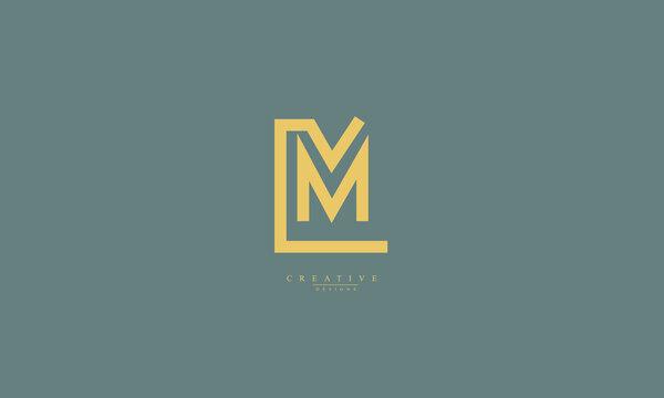 Alphabet letters Initials Monogram logo LM ML L M