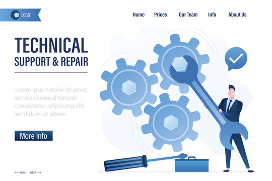Technical support and repair landing page template. Businessman uses wrench. Big gears, support staff with tools. System or business setup.