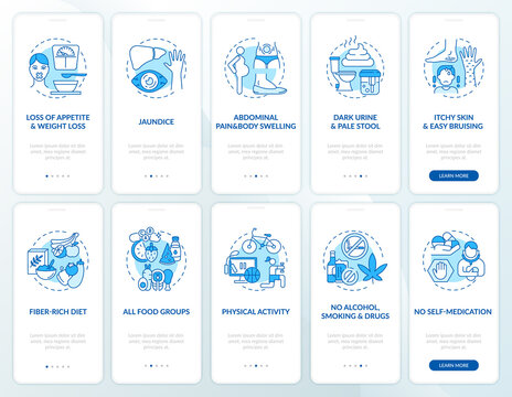 Hepatic health onboarding mobile app page screen with concepts set. Keeping liver healthy walkthrough 5 steps graphic instructions. UI, UX, GUI vector template with linear color illustrations