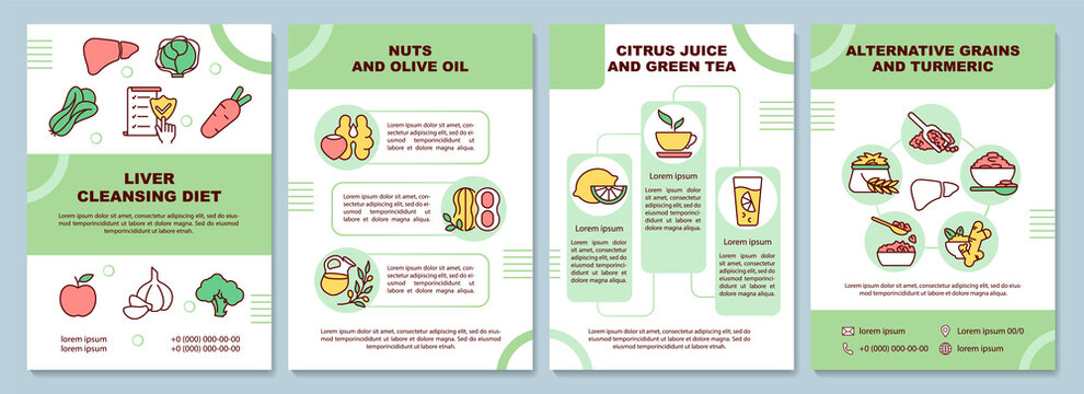Liver cleansing diet brochure template. Nuts, green tea. Flyer, booklet, leaflet print, cover design with linear icons. Vector layouts for presentation, annual reports, advertisement pages