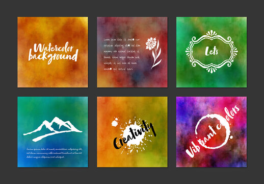 Water Color Backgrounds with White Typography Icons