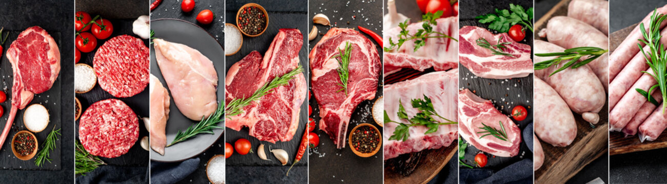 Food collage. Set of raw meat on a stone background.