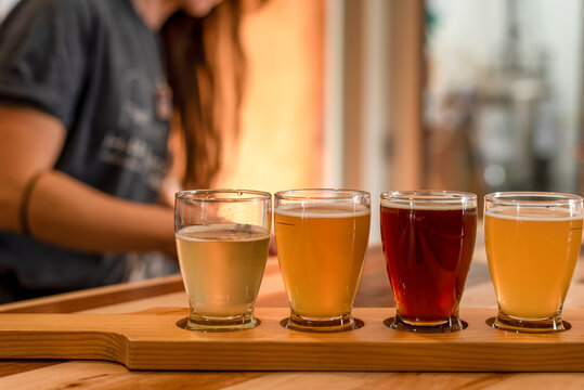 Ordering a flight of craft beer from a local brewery