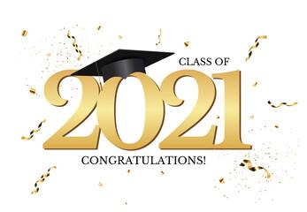 Obraz Graduation class of 2021 with graduation cap hat and confetti. Vector Illustration - fototapety do salonu