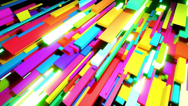 3d render. Abstract background with multicolor cubes or blocks grid in air and neon lights. Blocks like neon bulbs. Motion design bg for festive event