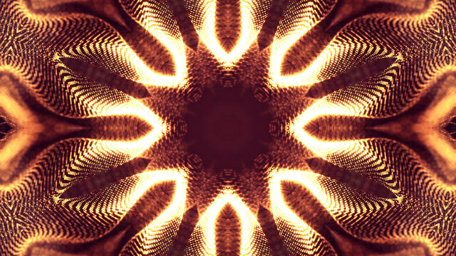 3d rendering background of microworld or sci-fi theme with glowing particles form curved lines, 3d surfaces, grid structures with depth of field, bokeh. Golden red wave star symmetric forms