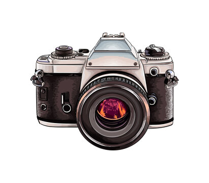 Retro camera from a splash of watercolor, colored drawing, realistic. Vector illustration of paints
