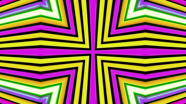 Geometric abstract background. Abstract symmetrical composition, multicolored 3d elements. 3d render abstract kaleidoscope with 3d simple objects. Motion design style