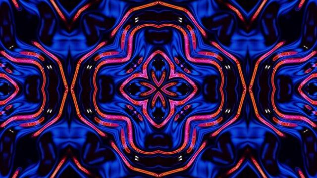 3d render. Liquid wavy pattern like kaleidoscope multicolored waves. 3D stylish abstract bg, wavy symmetrical structure of brilliant liquid glass.