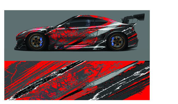 red racing car livery on a black gray background