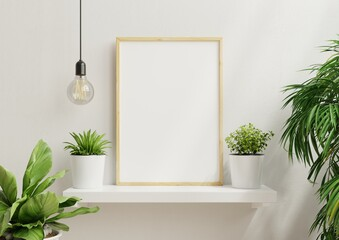 Fototapeta Interior poster mock up with vertical empty wooden frame,Scandinavian style.