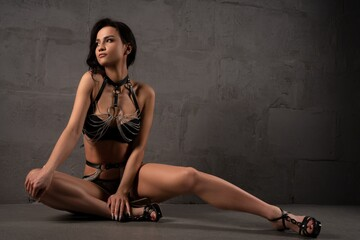 Fototapeta Dreamy young woman in sexy underwear and high heels obraz