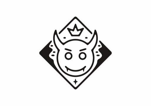 Black color of devil head emotion line art illustration