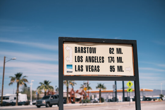 Highway Sign showing miles to Vegas, LA, and Barstow
