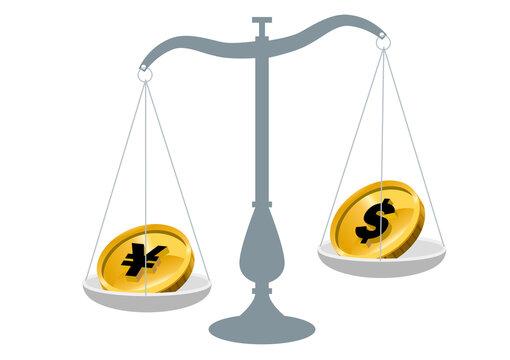 円高ドル安 日本円とドルお金を比べる天秤ばかりのイラスト 外国為替 外貨投資外貨預金のイメージイラスト