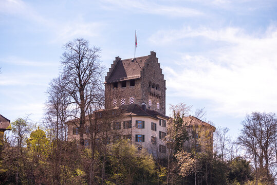 view of the old castle in Uster, Switzerland, during spring