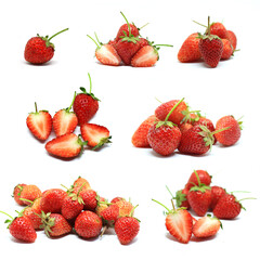 Fototapeta Collection of Whole of Strawberry(Fragaria x ananassa Duch.) and its sliced on white background.Strawberry have a lot of vitamin C and antioxidants.Good for health.Organic ,berries or Fruit concept. obraz