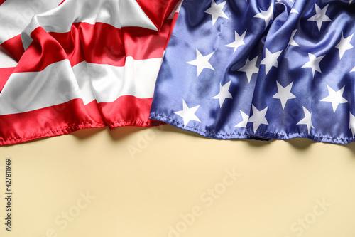 USA flag on color background