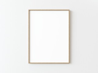 Fototapeta One light wood thin rectangular vertical frame hanging on a white textured wall mockup, Flat lay, top view, 3D illustration obraz