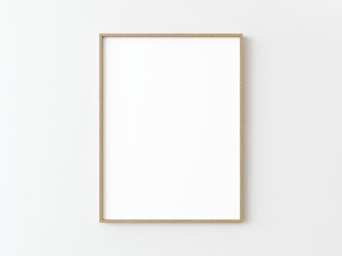 One light wood thin rectangular vertical frame hanging on a white textured wall mockup, Flat lay, top view, 3D illustration