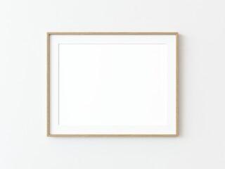Fototapeta Light wood thin rectangular horizontal frame hanging on a white textured wall mockup, Flat lay, top view, 3D illustration