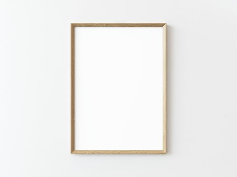 One wooden rectangular vertical frame hanging on a white textured wall mockup, Flat lay, top view, 3D illustration