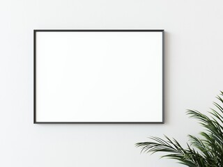 Fototapeta One black thin rectangular horizontal frame hanging on a white textured wall mockup with palm leaves to the right, Flat lay, top view, 3D illustration