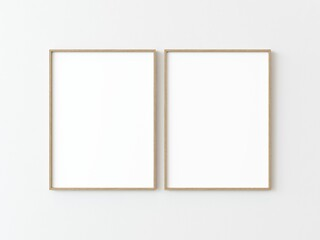Two light wood thin rectangular vertical frame hanging on a white textured wall mockup, Flat lay, top view, 3D illustration