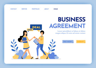Fototapeta Illustration of refer a friend or business agreement. People shaking hands and agreeing strategy and plan. Corporate partnership. Design concept for banner, landing page, web, website, poster, ui ux