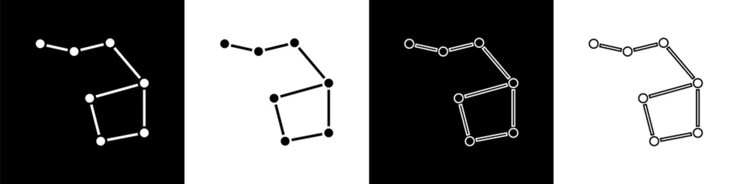 Set Great Bear constellation icon isolated on black and white background. Vector