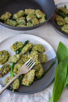 healthy home made Gnocchi with wild garlic