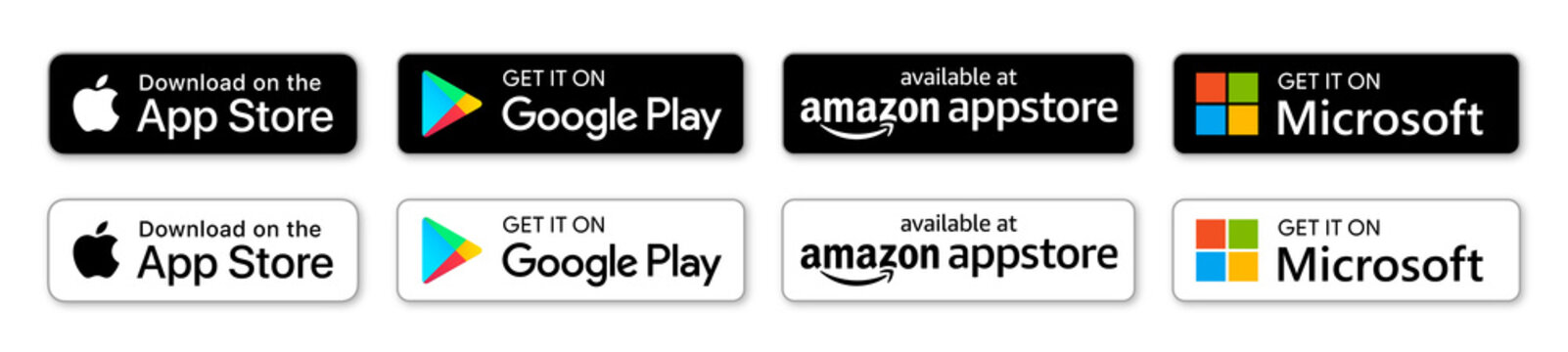 Apple App store, Google Play store, Microsoft store, Amazon Appstore: download App buttons. Isolated black icons set on white background. Download mobile application, UI elements. Vector illustration