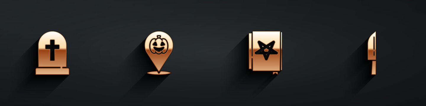 Set Tombstone with cross, Pumpkin, Ancient magic book and Knife icon with long shadow. Vector
